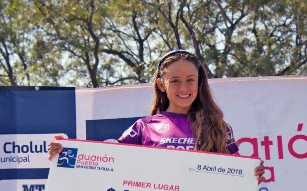 La atleta leonesa triunfó en el Duatlón Cholula-Puebla