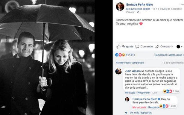 Peña Nieto se inspira y responde con humor los comentarios en su post de San Valentín