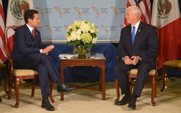 """Peña Nieto destaca necesidad de """"respeto mutuo"""" en reunión con Pence"""