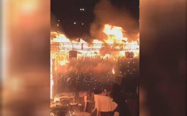 [Video] Trágica boda: pirotecnia provoca incendio ¡en pleno vals de los novios!