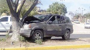 Camioneta se sube a un camellón y se estampa contra un árbol