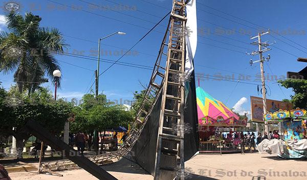 Menor resulta lesionada al caerle espectacular de la expo feria Escuinapa