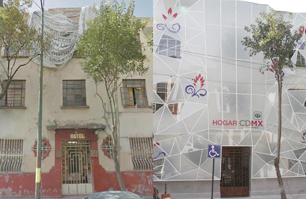 Antes y después de dos áreas de la construcción que fueron remodeladas para servir de albergue a personas que superaron la situación de calle.