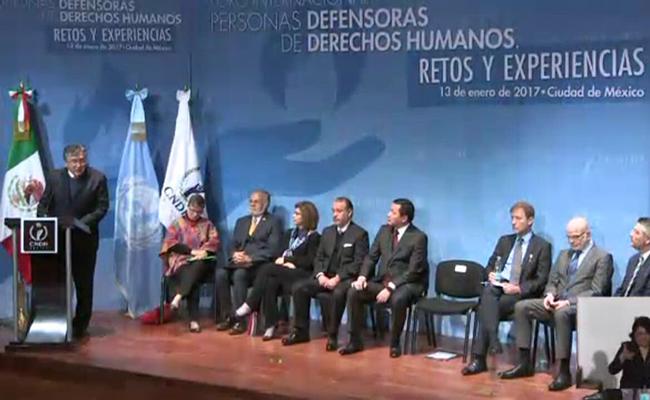 Ombudsman CNDH, en el Foro Internacional de Defensores de Derechos Humanos. Foto: @CNDH