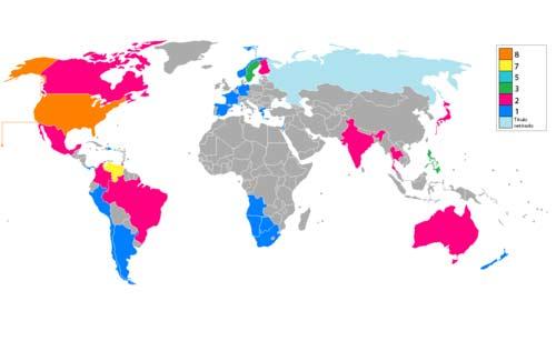 Mapa donde se reflejan los países ganadores del concurso.