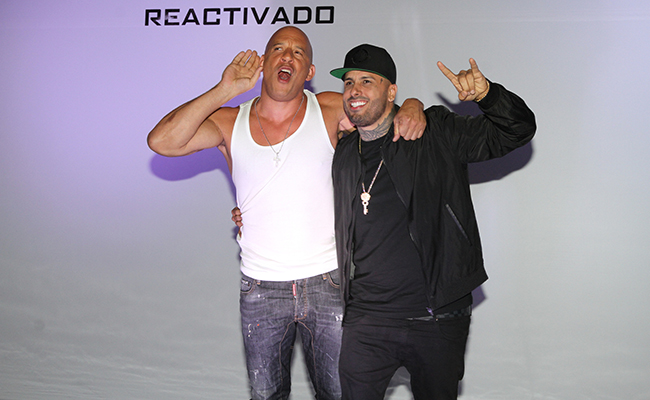 Vin Diesel y el cantante Nicky Jam / Foto: Notimex