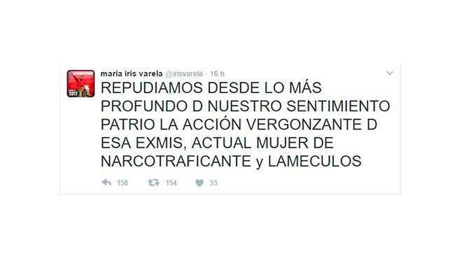 Twitter María Iris Varela @irisvarela