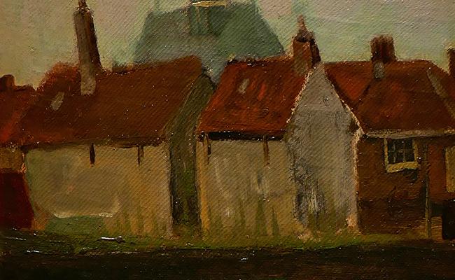 LA IGLESIA Nueva y casas viejas en La Haya, 1883, Vincent Van Gogh, Galería Albricht.