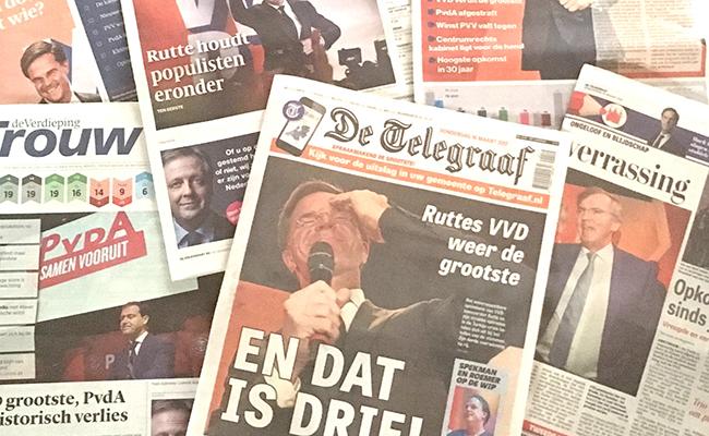 PRIMERAS PÁGINAS de diversos periódicos en Holanda el día después de las elecciones.