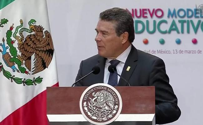 Juan Díaz de la Torre, Presidente del Consejo General del Sindicato Nacional de Trabajadores de la Educación. Foto: @PresidenciaMX