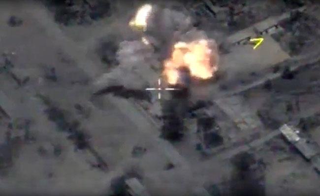 Vista aérea tras los bombardeos de la Armada rusa desde el mar Mediterráneo a objetivos en Siria. Foto: EFE