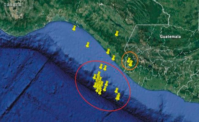 Secuencia de los sismos de magnitud mayor de 4.0 del día 10 al 14 de junio en Chiapas. Foto: Servicio Sismológico Nacional