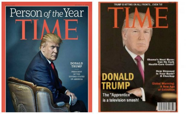 Trump presume portada falsa de Time en clubs de golf