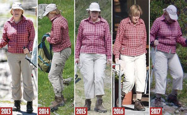 MEDIOS LOCALES han comparado el paso de los años de la canciller en su temporada de vacaciones usando la misma indumentaria | Foto: Especial