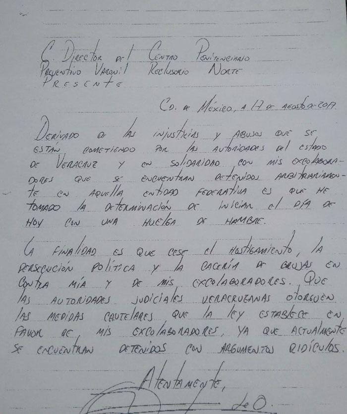 En carta, anuncia Duarte huelga de hambre