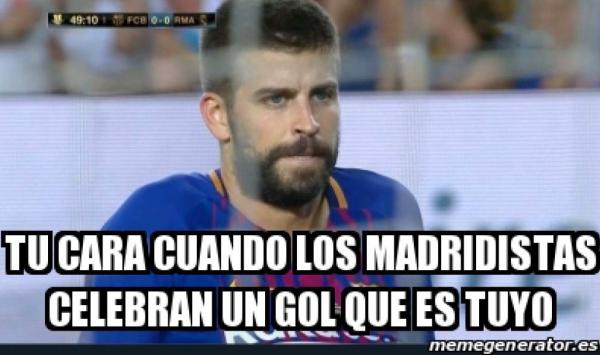 meme piqué, víctima de los memes en victoria del real madrid sobre barcelona