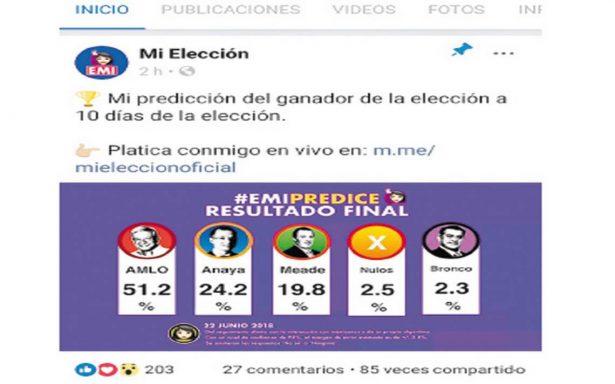 Predice el robot EMI el triunfo de López Obrador
