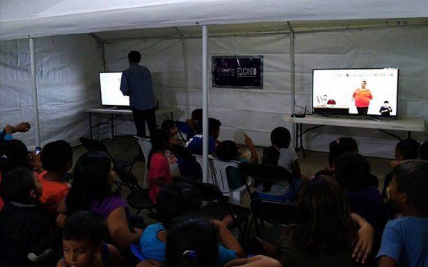 Afectados por el sismo tendrán clases con televisiones en Oaxaca