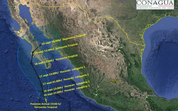 Norma ya es huracán categoría 1 y avanza hacia Baja California Sur