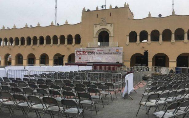 Todo listo en Nuevo Laredo para mitin de AMLO