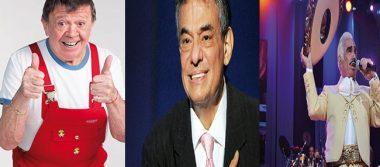 """Trío de cumpleañeros, Xavier López """"Chabelo"""", Vicente Fernández y José José"""