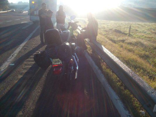 Lesionado al derrapar en su motocicleta