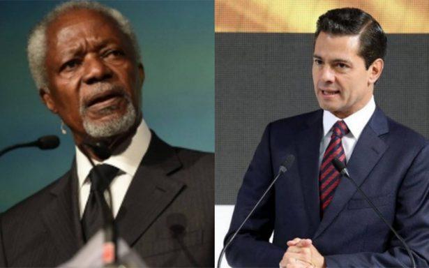 Kofi Annan, exsecretario general de la ONU, se reúne con Peña Nieto
