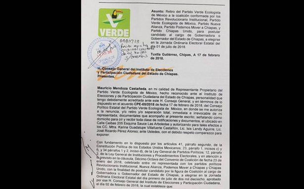 """Tras inconformidad de partidos, se rompe coalición """"Todos por Chiapas"""""""