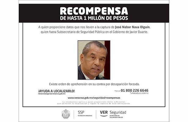 Ofrece Gobierno del Estado 1 mdp por exsubsecretario de Seguridad Pública