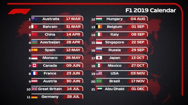 Confirman calendario 2019 de la Fórmula 1