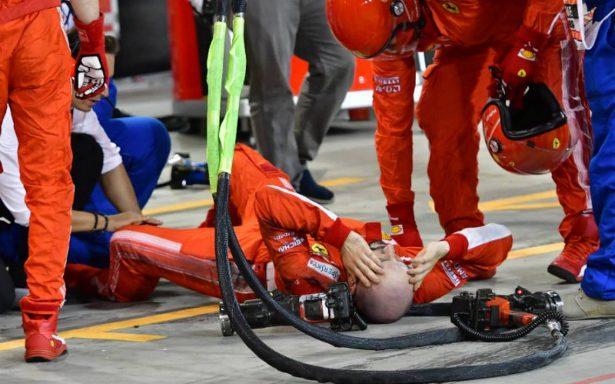 Kimmi Raikkonen atropella a uno de sus mecánicos; le provoca una fractura la pierna