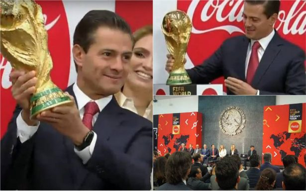 [Video] Peña Nieto levanta la Copa del Mundo y pide al Tri regresar de Rusia con ella