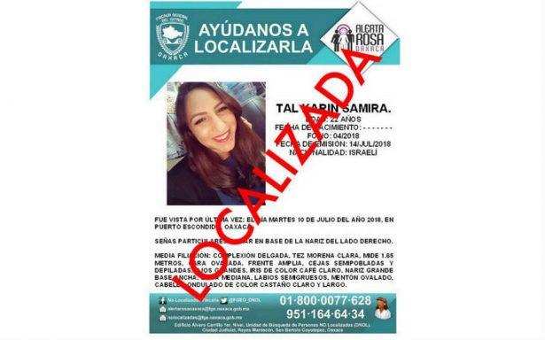 Localizan a ciudadana israelí desaparecida en Oaxaca