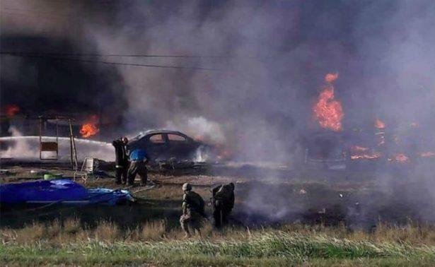 Estalla pipa con gasolina robada en Tamaulipas