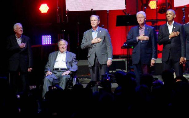 Obama, Clinton y W. Bush se unen y recaudan fondos tras huracanes