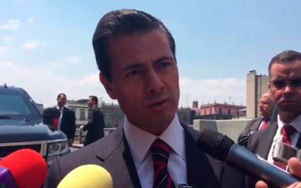 México se ha conducido con toda seriedad y se mantendrá así, responde Peña Nieto a Trump