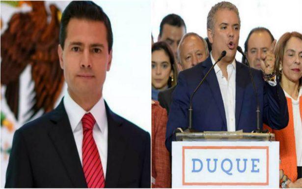 Peña Nieto felicita a Iván Duque  tras victoria electoral en Colombia