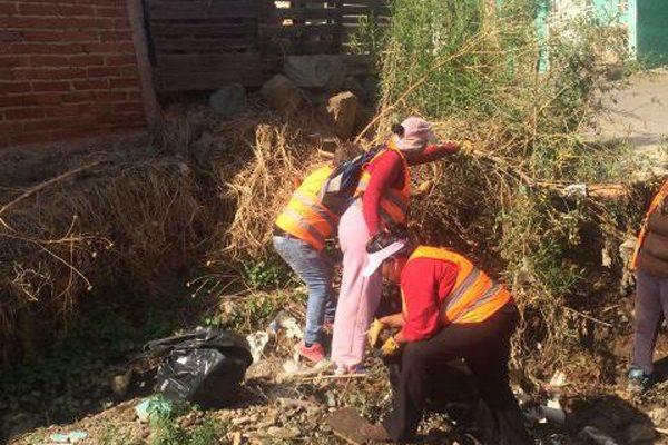 Cuadrillas de limpieza  en arroyo Las Adelitas
