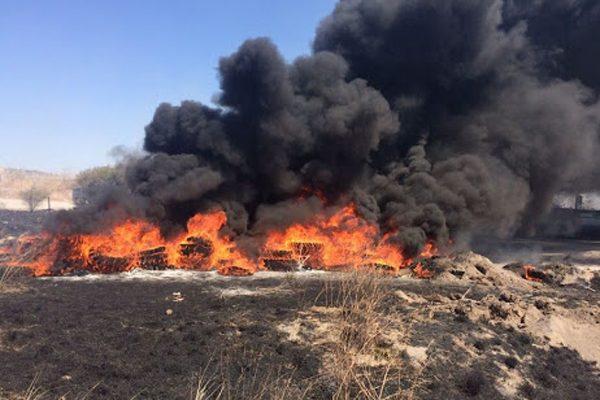 Arden 150 pacas de pastura en un rancho rumbo a Santa