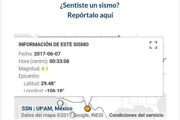 Registra Sismógrafo Nacional temblor en Encinillas