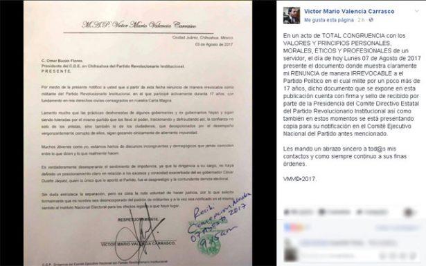 Otra renuncia al PRI, también se va el hijo de Víctor Valencia
