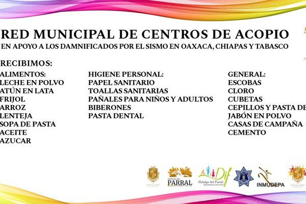 DIF Municipal será centro de acopio para los damnificados por el sismo