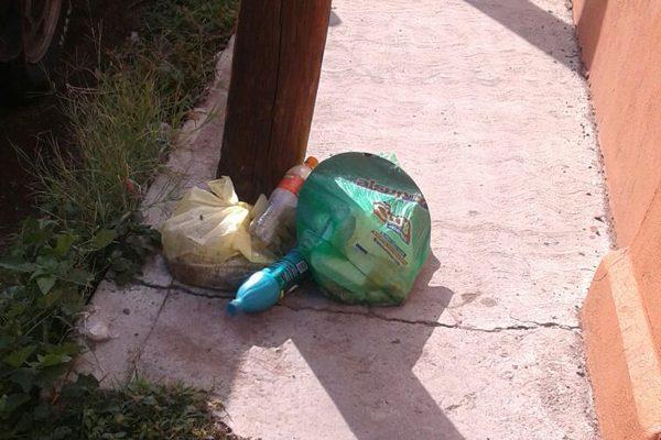 Basura y maleza que sobresale de  banquetas, en calle Vasco de Quiroga