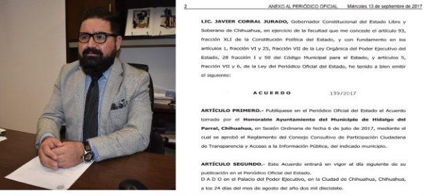 Parral, 1er Municipio con un Consejo de Participación Ciudadana de Transparencia y Acceso a la  Información Pública