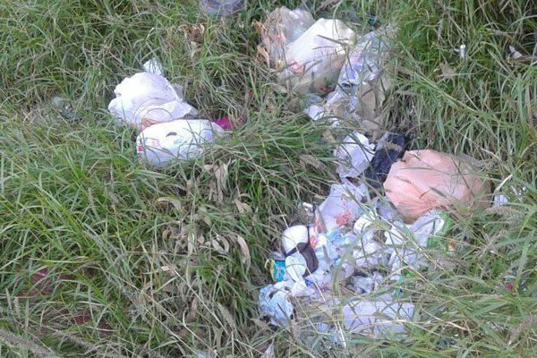 Abunda la basura y maleza en área verde de la calle Ribera del Topo Chico