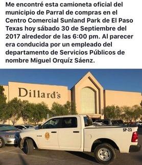Señalan en redes sociales camioneta oficial de compras en El Paso, Texas