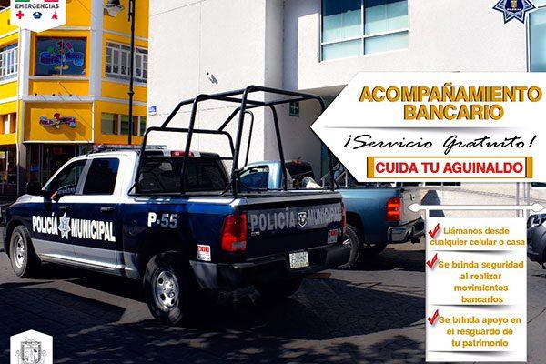Seguridad Pública ofrecerá acompañamiento gratuito para quienes retiren los aguinaldos