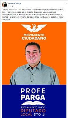 Profr. Lorenzo Parga Pre Candidato a diputado por el distrito 21 por Movimiento Ciudadano