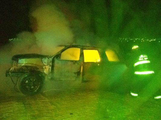Encuentran vehículo en llamas y desmantelado en el camino a la Esmeralda