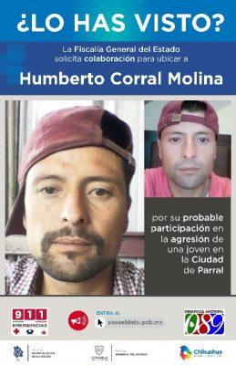 Extiende FEM búsqueda de principal sospechoso de la agresión de adolescente en Parral